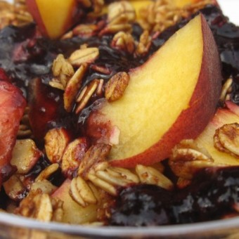 Peaches w/ Berry Puree & Skillet Granola