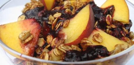 Peaches w/ Berry Puree & Skillet Granola