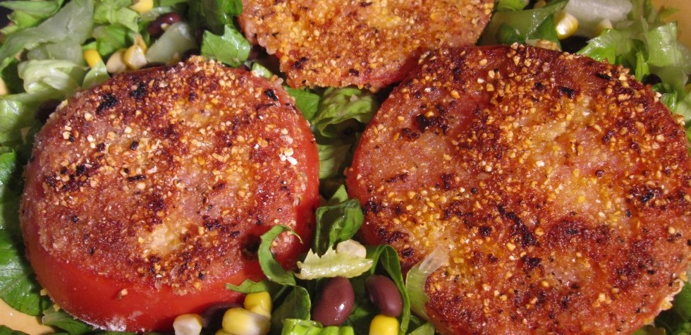 Cornmeal Crusted Tomatoes on Chopped Honey Mustard Salad