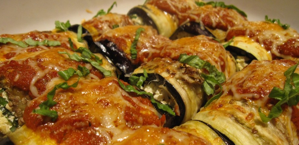 Eggplant Manicotti with Roasted Red Pepper Sauce