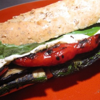 Grilled Veggie & Fresh Mozzarella Sandwich with Basil Vinaigrette