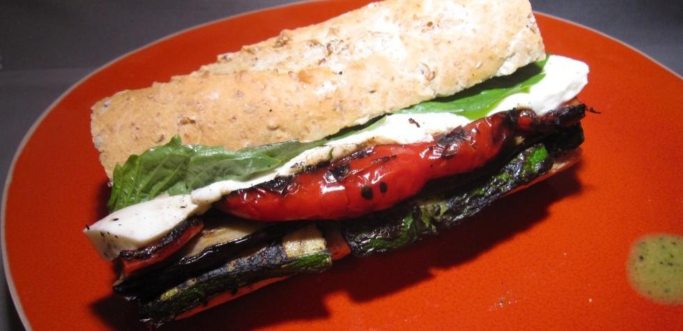 Grilled Veggie & Fresh Mozzarella Sandwich with Basil Vinaigrette