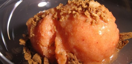 Peach & Brown Sugar Ice Cream with Gingersnap Topping