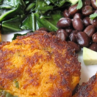 Sweet Potato Cakes, Beans & Greens