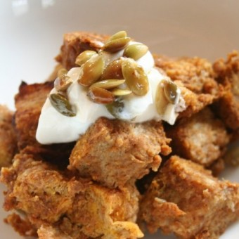 Pumpkin Bread Pudding with Candied Seeds