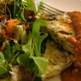 Potato & Mushroom Frittata with Roasted Red Pepper Puree