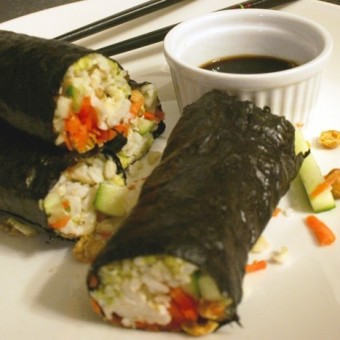 Brown Rice Nori Rolls with Wasabi Chickpeas