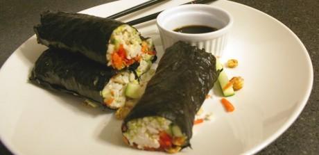 Brown Rice Nori Rolls with Wasabi Chickpeas