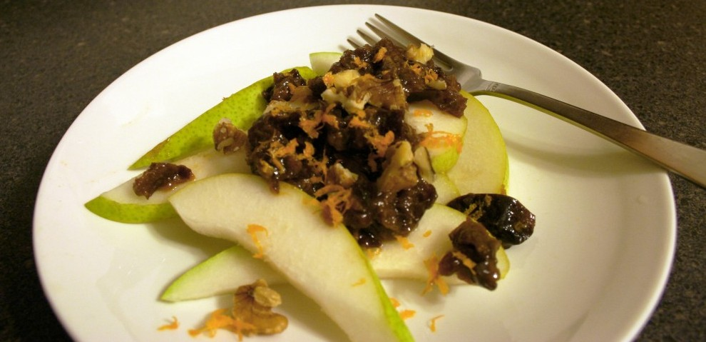 Dried Plum & Ginger Compote on Sliced Pears