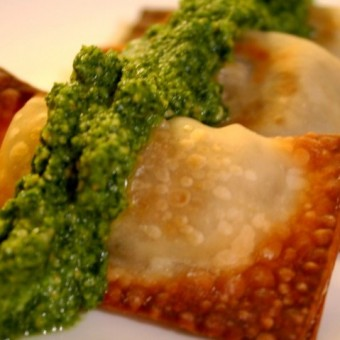 Samosas with Indian Pesto