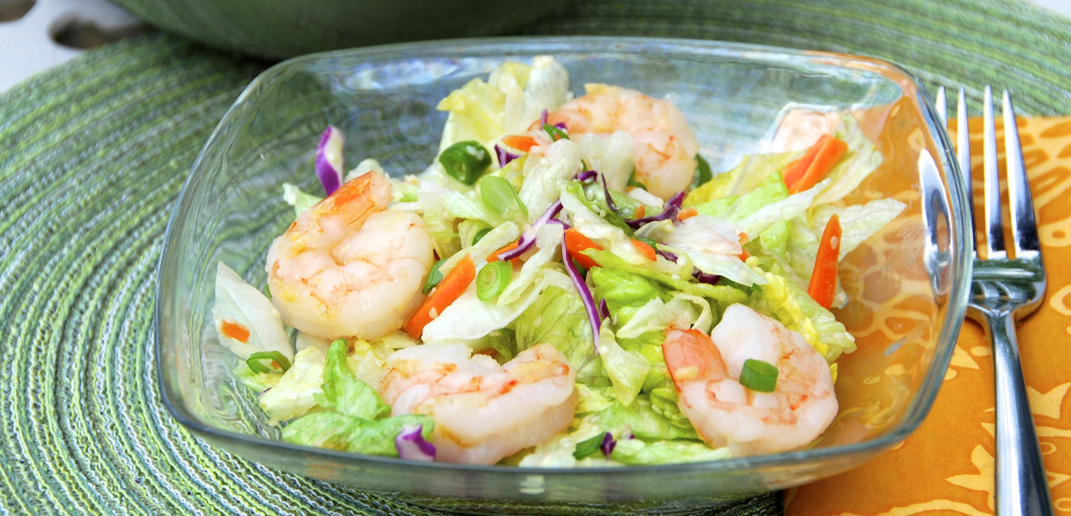 Grilled Shrimp Salad with Green Tea Citrus Dressing