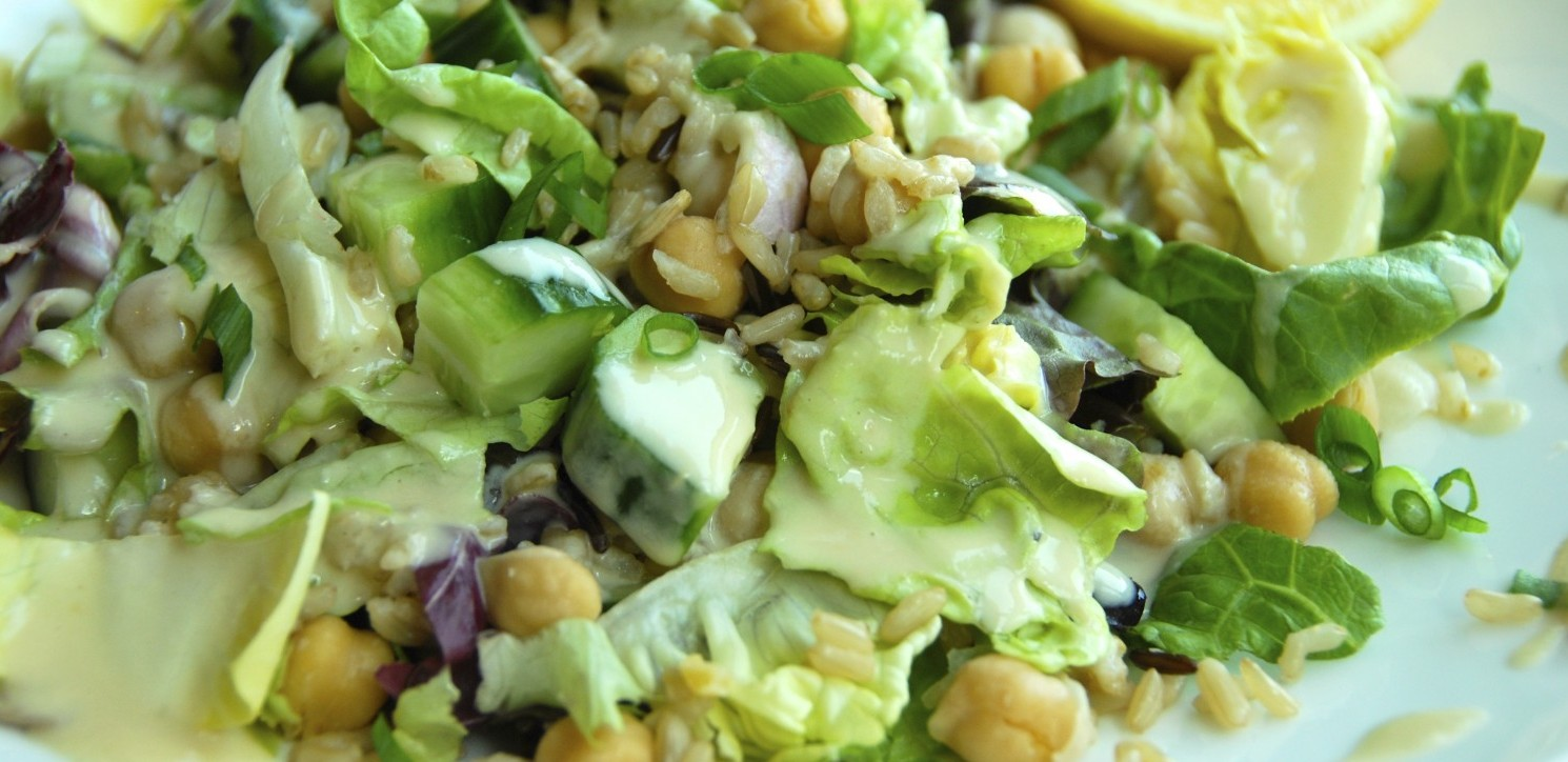 Grains & Greens Salad with Hummus Dressing