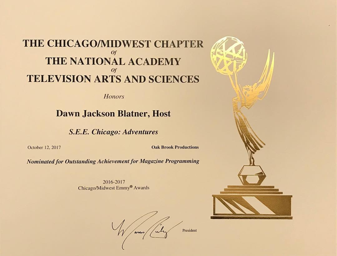 Official Emmy nomination certificate for SEE Chicago This is 1hellip