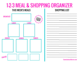 1-2-3 Meal & Shopping Organizer