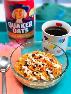 Carrot Cake Oatmeal w/ Greek Yogurt Frosting